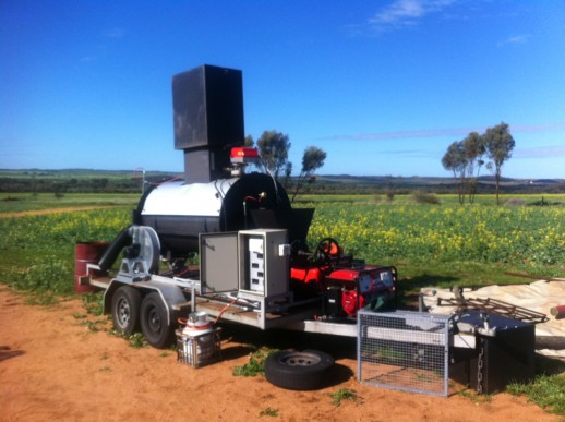 Mobile biochar unit, from WA based Energy Farmers Australia See:www.energyfarmers.com.au